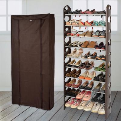 【LIFECODE】可調式十層鞋架-咖啡色+防塵套 (7.5折)