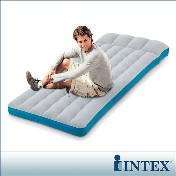 限時特價intex單人野營充氣床墊/露營睡墊-寬72cm (灰藍色)(67998)