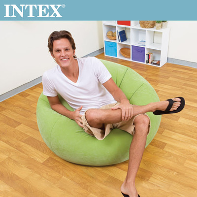 INTEX 豆豆休閒充氣椅-3色任選(68569)+LIFECODE 110V幫浦 (7.1折)