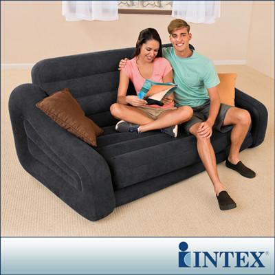 【INTEX】二合一雙人超大充氣沙發床(黑色) 2016年新款 LC259(68566) (6.9折)
