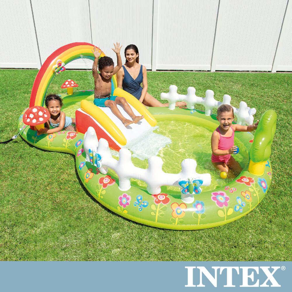 intex 彩虹花園戲水池/滑水道290x180x104cm(450l)適用2歲+(57154np)