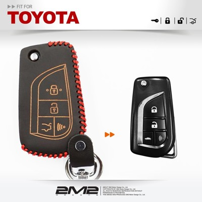 2m2toyota rav4 vios wish yaris 豐田汽車 原廠型改裝摺疊款 鑰匙皮套 (9.4折)