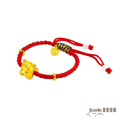 j'code真愛密碼 大甲媽三太子黃金編繩手鍊-立體硬金款 (現貨+預購)