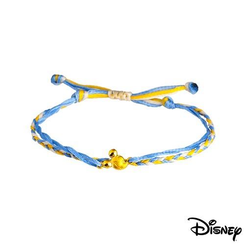 disney迪士尼系列金飾 黃金/彩色蠟繩手鍊-樂觀米奇款現貨+預購