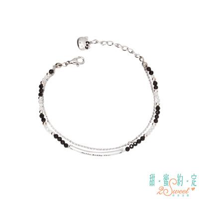 甜蜜約定 HelloKitty 黑色潮流Kitty純銀/尖晶石手鍊-雙鍊款 (9.5折)