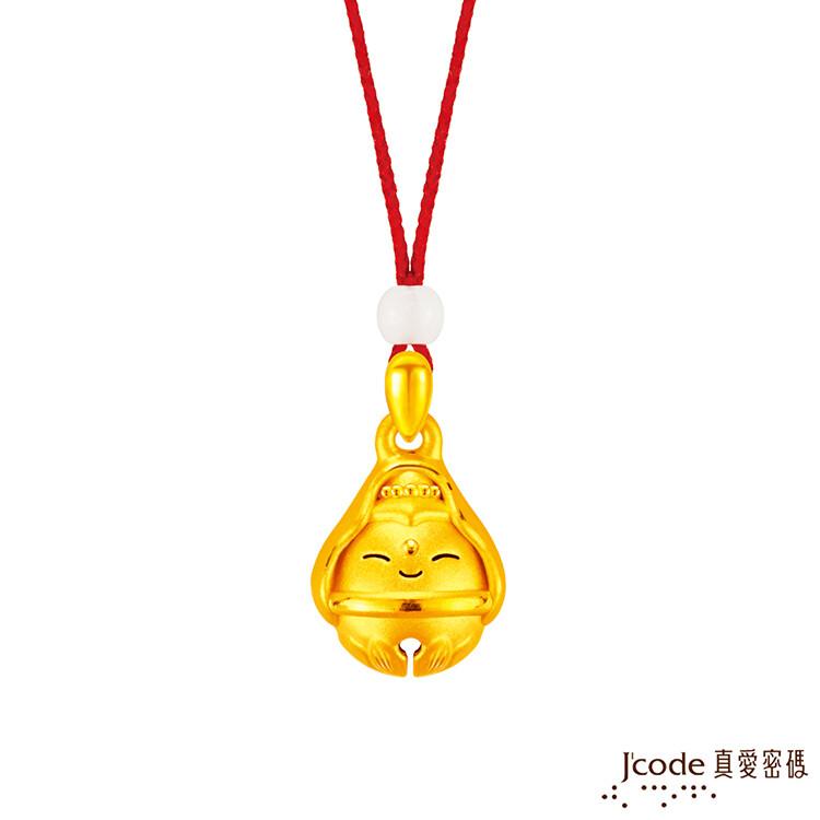 j'code真愛密碼金飾 大甲媽好鈴驗觀音黃金墜子-立體硬金款 送項鍊
