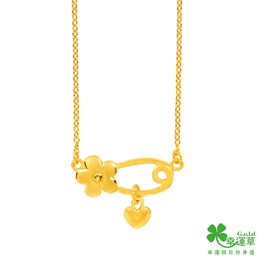 幸運草金飾 乖寶寶彌月黃金項鍊