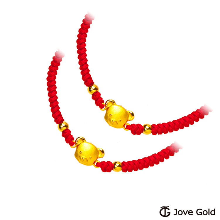 jove gold 漾金飾 熊可愛彌月成對黃金紅繩手鍊