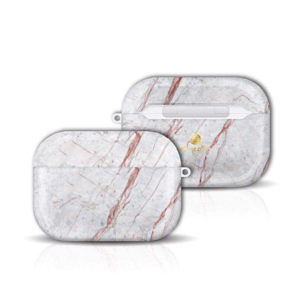 hong man 大理石紋 airpods pro 防塵耐磨保護套 赭白款