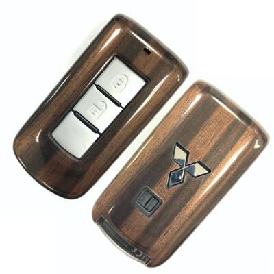 日牌Mitsubishi 車鑰匙殼 三菱 Outlander汽車鑰匙防摔殼 智慧鎖匙保護套(木紋棕) (8.5折)