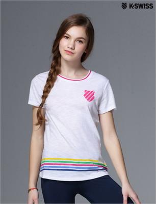 K-Swiss Striped Tee條紋短袖T恤-女-白 (7折)