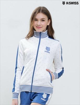 K-Swiss Allover Print Zip Up Jacket休閒外套-女-白 (5.2折)