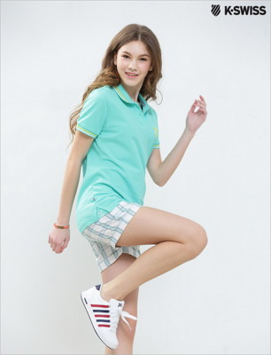 K-Swiss Plaid Shorts格紋休閒短褲-女-白 (6折)