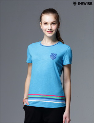 K-Swiss Striped Tee條紋短袖T恤-女-藍 (7折)