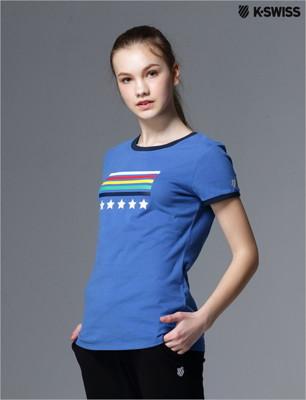 K-Swiss Graphic Tee印花短袖T恤-女-寶藍 (7.7折)