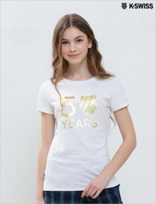 K-Swiss Gold Sequin Studs Tee50周年短袖T恤-女-白 (5.3折)