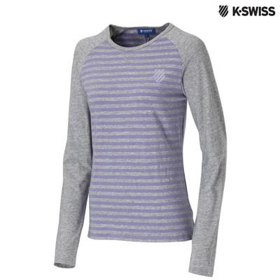 K-Swiss Slim Fit Stripe LS Tee長袖T恤女-灰/紫 (6.2折)