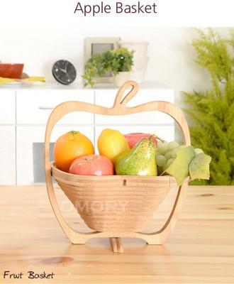 【OMORY】蘋果造型竹製可折疊小物收納水果籃 (7.1折)