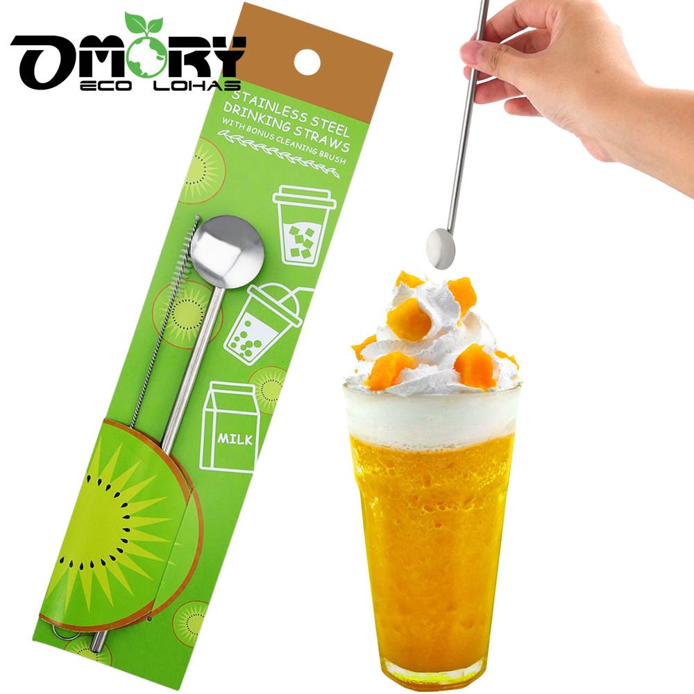 omory#304不鏽鋼吸管攪拌冰勺1入(贈清潔刷)