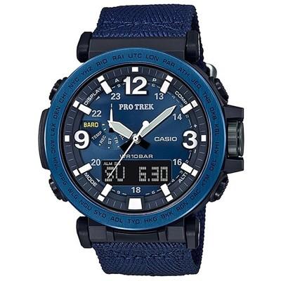 【CASIO】PRO TREK 大型螢幕抗低溫電子羅盤登山錶-不鏽鋼藍圈(PRG-600YB-2) (10折)