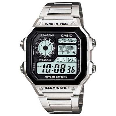 【CASIO】十年之旅世界城市方款不鏽鋼電子錶(AE-1200WHD-1A) (10折)