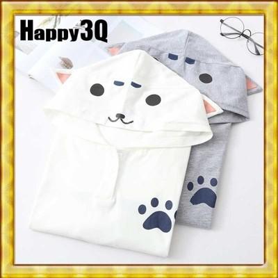 森林系可愛柴犬秋田貓咪寵物任你定義耳朵連帽T-ShirtT恤-白/灰【AAA0654】 (7.1折)