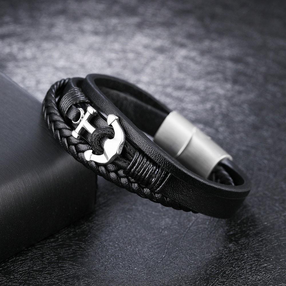 船錨造型編織多層白鋼手環-ckls1213