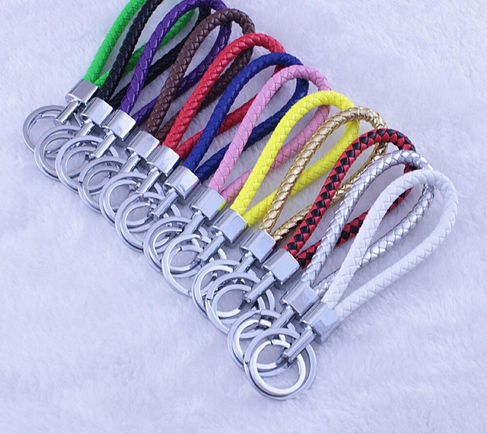 彩色編織皮繩 合金鑰匙圈 汽車配件-klal002