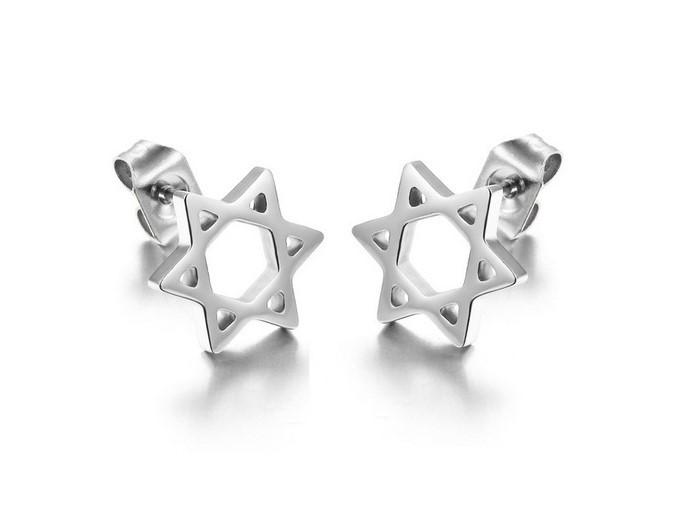 韓版六芒星造型白鋼耳環 一對價-eks285