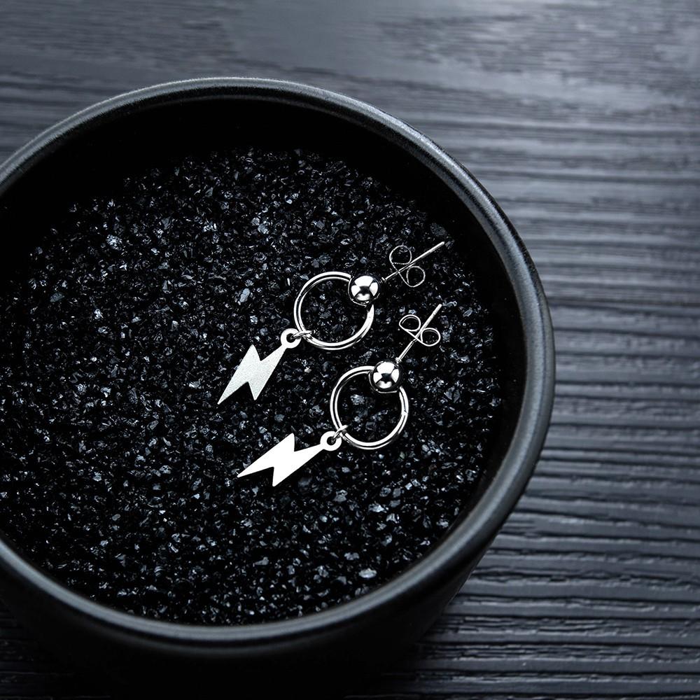 閃電造型圓圈白鋼耳環 單個價-eks549