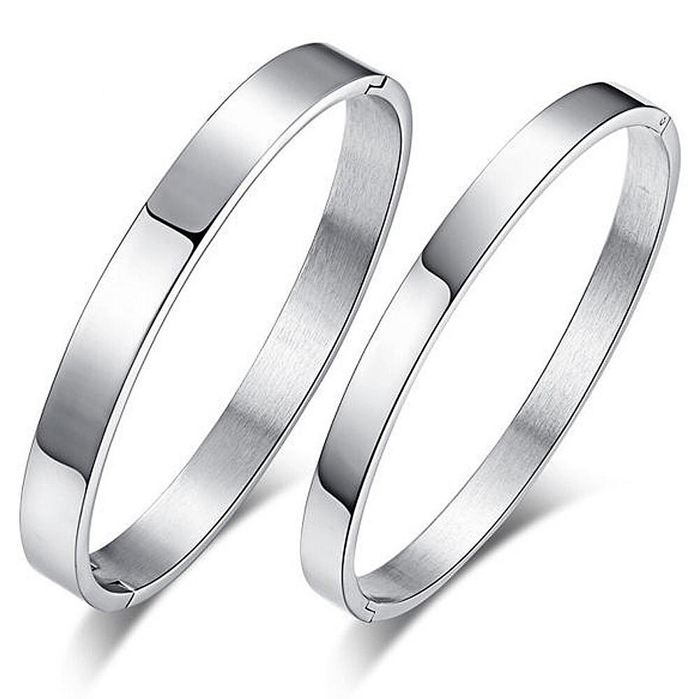 銀色素面白鋼情侶手環-cpy001
