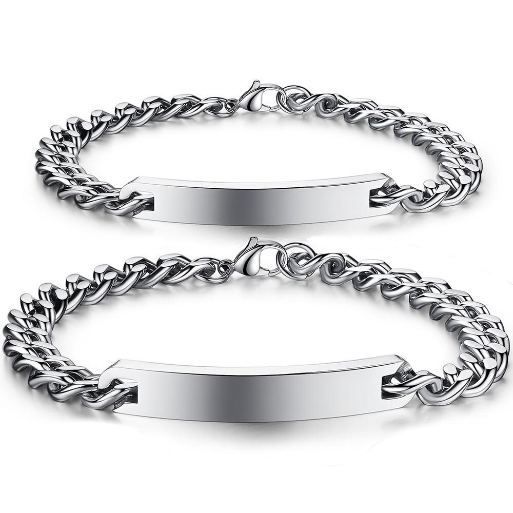 精緻素面銀色款式情侶白鋼手鍊-cky604