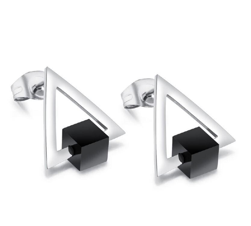 韓版金三角女性白鋼耳環-eks388