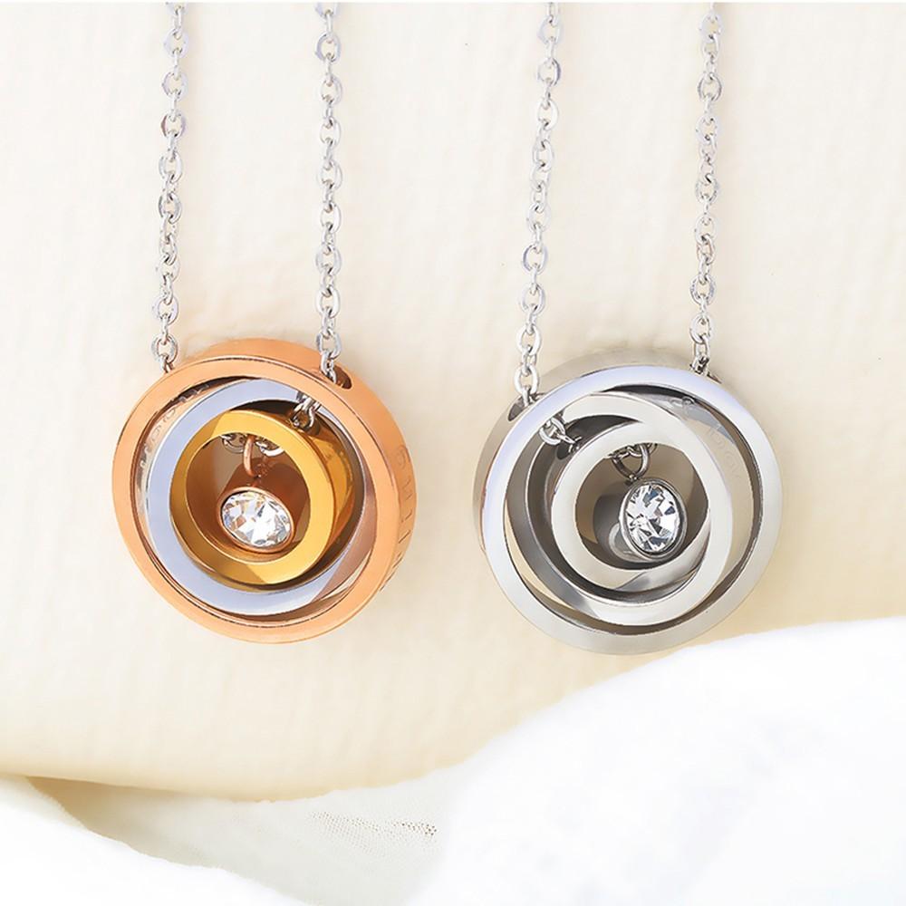 簡約三環相扣鑲鑽白鋼項鍊-aky1406