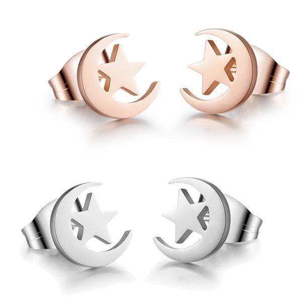 韓版星星月亮造型白鋼耳環 一對價-eks287