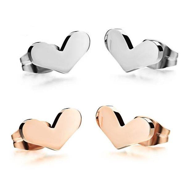 韓版愛心造型白鋼耳環 一對價-eks293
