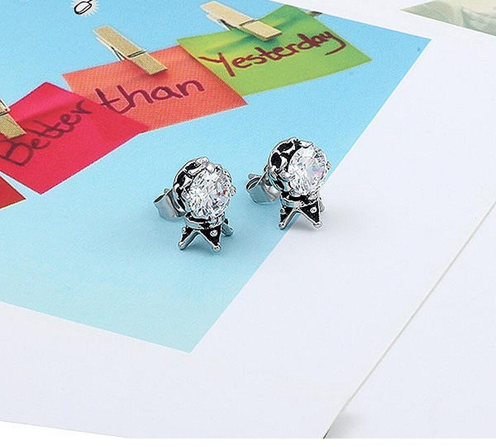 皇冠鋯石造型白鋼耳環-ecs021