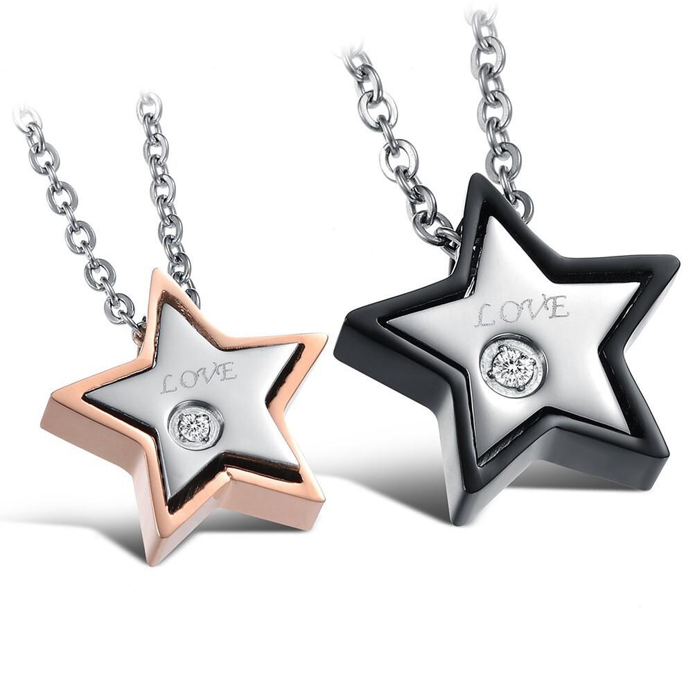 z.mo鈦鋼屋 情侶對鏈 星星項鍊 情侶項鍊 鈦鋼項鍊 可加購刻字 告白項鍊 生日禮物 情人節禮物