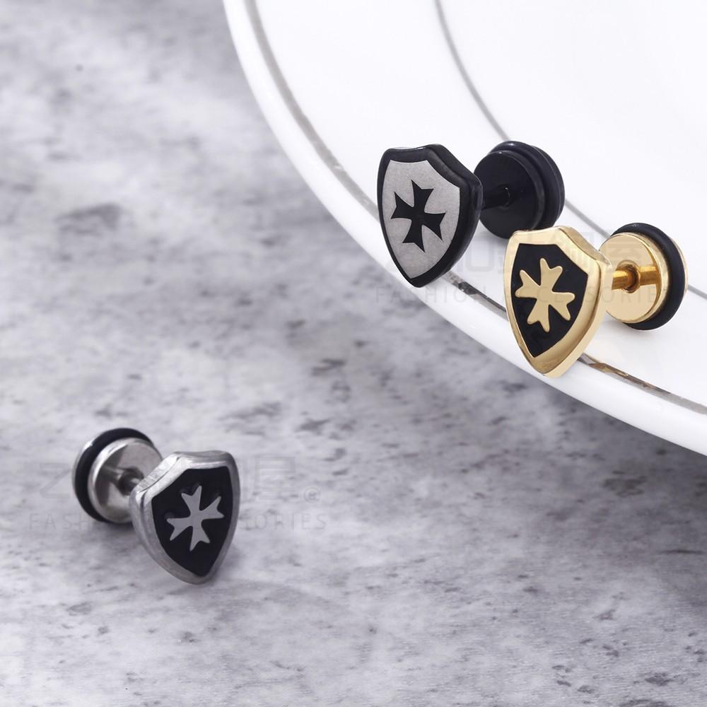 十字架盾牌造型白鋼耳環-ecs093