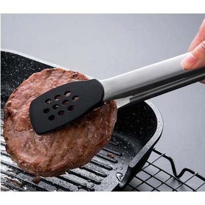不粘鍋專用牛排夾304不銹鋼烤肉夾子耐高溫矽膠防燙食物夾燒烤夾 (6.2折)