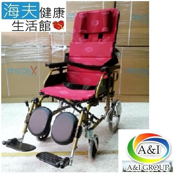 海夫健康生活館康復 紅提2211p 鋁躺輪椅 22吋