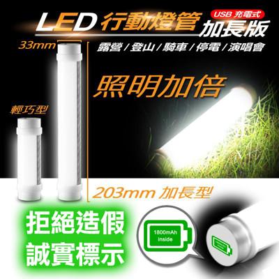 加長版超亮磁吸式LED行動燈管 手電筒 USB充電 5段調光 免費附手繩 緊急照明燈 小夜燈 (2折)