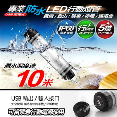 具行動電源功能的專業防水款 超亮LED行動燈管手電筒 露營燈 潛水燈 自行車燈警示 (1.7折)