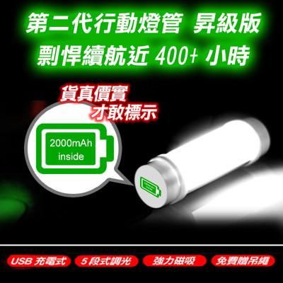 第二代超亮磁吸LED行動燈管手電筒-標準版,升級鋰電池容量,USB充電,五段調光 (2.3折)