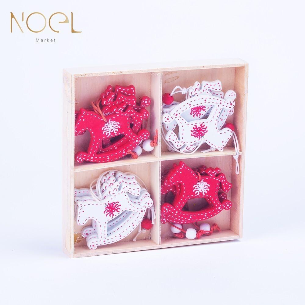 noel諾也市集木質紅白木馬聖誕樹小吊飾-聖誕樹裝飾必備