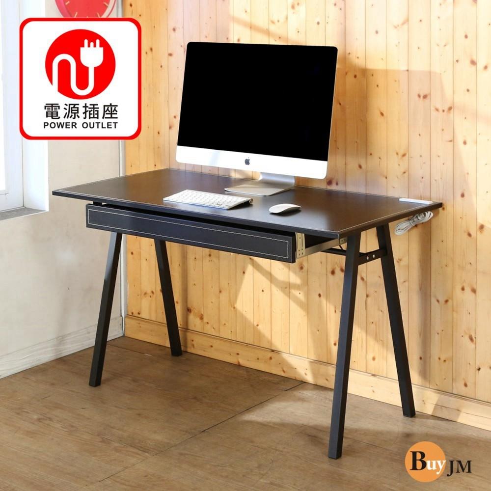 buyjm馬鞍皮面附插座抽屜a字工作桌/電腦桌/寬120cm