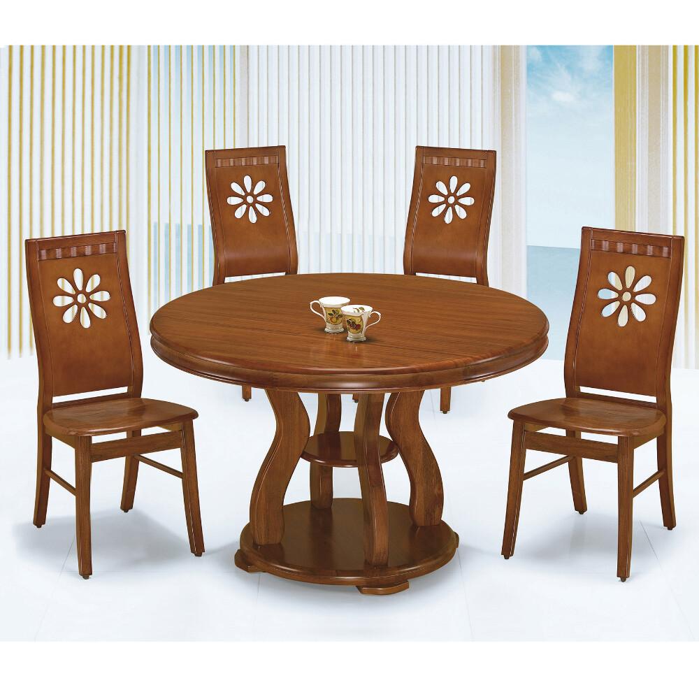 muna4尺柚木色圓餐桌(1485)(1桌6椅)