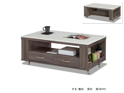 【MUNA】貝克4尺灰橡色石面大茶几(不含小凳子) (6.6折)