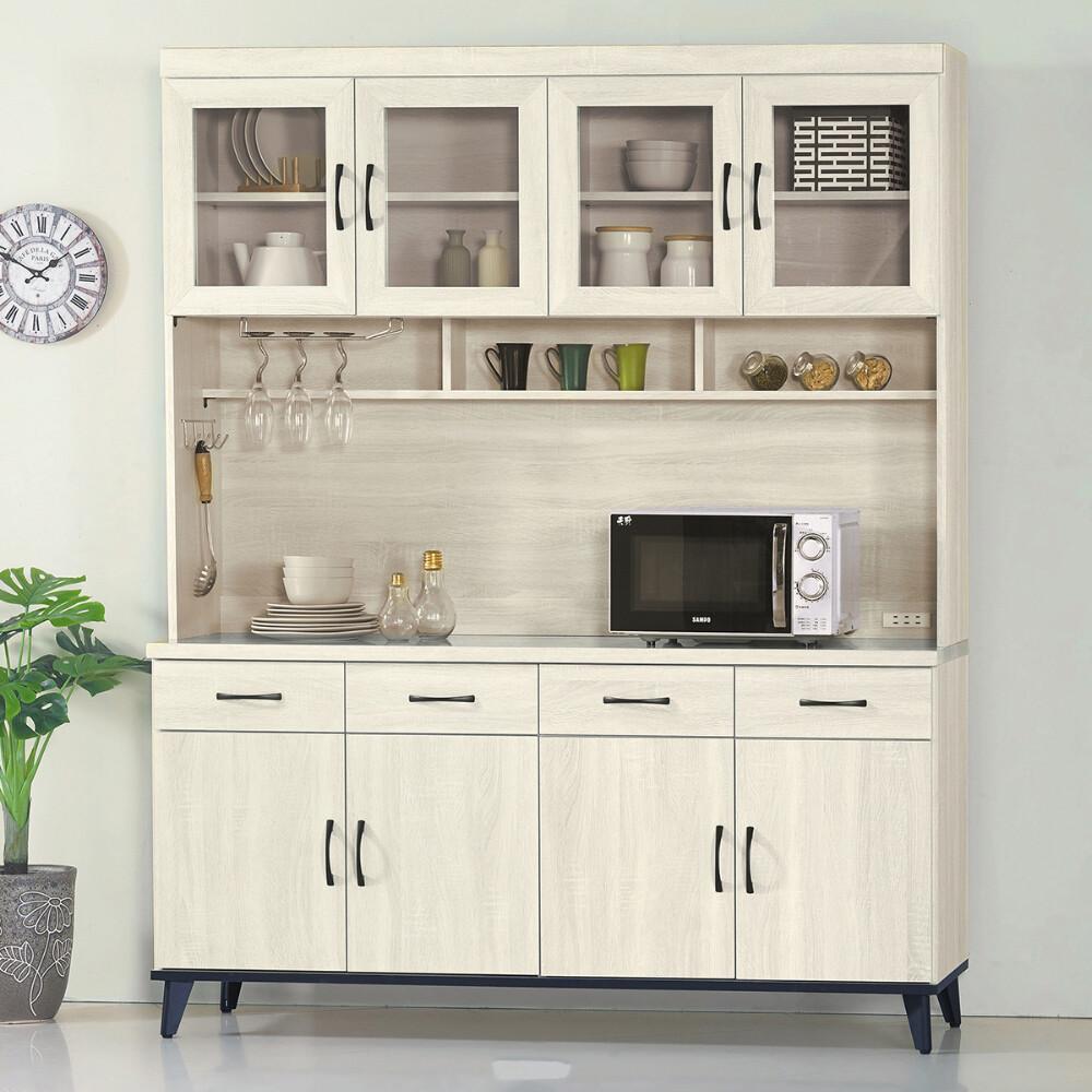 muna達格鋼刷白5.3尺餐櫃/碗盤櫃(全組)