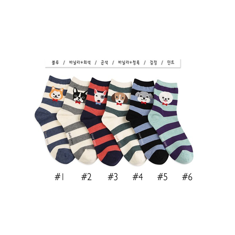 韓國條紋狗造型短襪-多款任選 (sock-178-w)